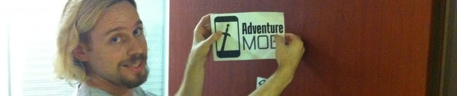 Adventure Mob sign being placed on the front door.